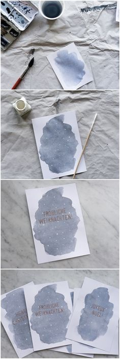 DIY super easy Aquarell Schneeflocken Weihnachtskarten mit Kupfer Schrift DIY watercolor christmas cards with snow flakes and copper lettering Diy Gifts For Christmas, Christmas Decorations, Christmas Ideas, Birthday Decorations, Homemade Christmas, Christmas Qoutes, Unique Christmas Cards, Vintage Christmas, Christmas Tree
