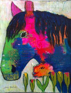 Fun Bright Original Horse Equine Art Painting by Caren by caren