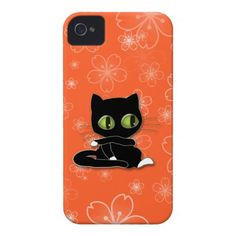 black cat with white socks iPhone 4 case