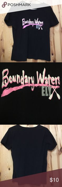 Tee Shirt Stretch Medium Boundary Waters Ely GUC Tee Shirt Stretch Medium Boundary Waters Ely GUC Black with Pink & White Writing Boundary Waters Canoe 🛶 area is famous for their canoe trips and dog sledding trips through the Boundary Waters not to mention the fishing. Find More of these items at the Ely Wear store in Ely Mn They will also do custom shirts and sweat Shirts just ask Offers Welcome Tops Tees - Short Sleeve