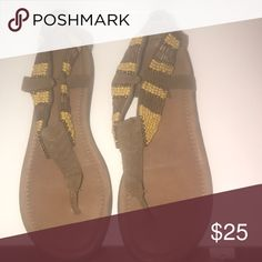 Leather Beaded Sandals Lester strap sandal with brown and yellow beads Minnetonka Shoes Sandals