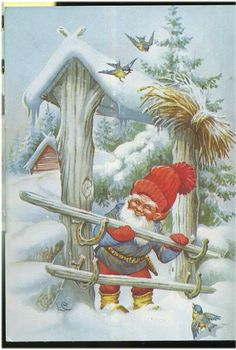 Gnome (Dwarf) is closing the gate, birds are looking, Signed by Lars Carlsson Swedish Christmas, Christmas Mood, Scandinavian Christmas, Vintage Christmas, Christmas Scenes, Christmas Pictures, Christmas Knomes, David The Gnome, Elves And Fairies