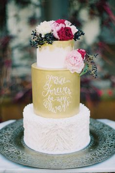 Gold Fondant Handpainted Quote Wedding Cake