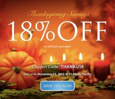 *LIMITED TIME OFFER. THANKU18 coupon and offer expires November 22, 2012 at 11:59 p.m. Pacific. THANKU18 coupon is good for 18% off new products and services. No minimum purchase required. All renewals on products and services after the initial discounted period will be charged at the then current standard list price for the selected period. Coupon is not valid with certain TLDs, renewals, transfers, custom website design, other coupons, or special pricing.
