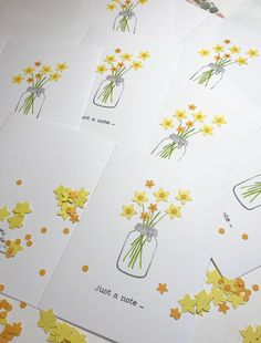 Bunch of daffodils in an ink stamped jam jar. Jam Jar, Ink Stamps, Blank Cards, Greeting Cards Handmade, Daffodils, Yellow Flowers, Unique, Beautiful, Hand Made Greeting Cards