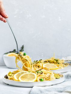 Vegan Lemon Butter Pasta with Peas and Charred Leeks Vegan Pasta. Lemon and Pea Pasta. Vegan Noodles Recipes, Pasta Recipes, Vegetarian Recipes, Butter Pasta, Butter Sauce, Truffle Pasta, Vegan Truffles, Pasta With Peas, Lemon Pasta