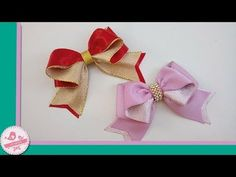 LAÇO ONDA || DIY-PAP - YouTube Hair Ribbons, Diy Hair Bows, Ribbon Hair, Ribbon Bows, Kanzashi Tutorial, Bow Tutorial, Ribbon Crafts, Cute Crafts, Flower Making
