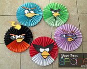 Set of 5 Angry Birds Space- Large Paper Rosettes/ Fans