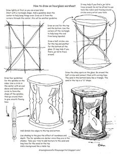 How to Draw Worksheets for The Young Artist: Printable how to draw an hourglass…