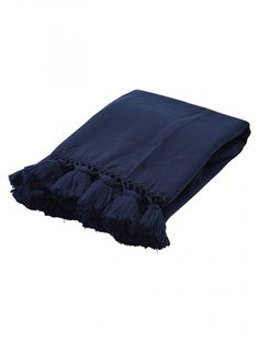 Kate Spade New York Seaport Tassel Throw, Navy
