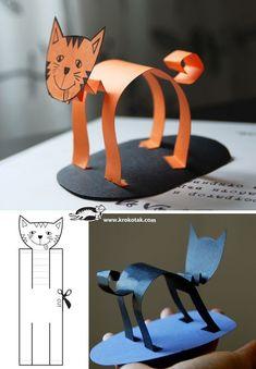 Make a paper black cat. Kid's craft fun!