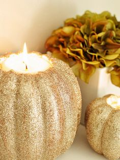 Beautiful Glitter Pumpkin can use for both Halloween and Thanksgiving. Set up as a beautiful center piece with different size pumpkins around it. Mix up colors, try a black and purple for Halloween ! Fall Crafts, Holiday Crafts, Holiday Fun, Festive, Holiday Ideas, Holiday Style, Pumpkin Candles, Diy Pumpkin, Pumpkin Tea