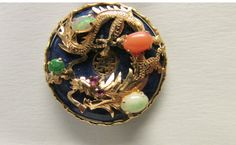 Vintage Estate 14KT Dragon with Ruby Jade Opal by Alohamemorabilia,