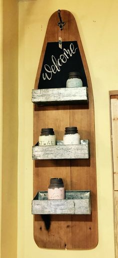 Vintage Bügelbrett Regal # DIYCountryDécorProjects - Up Cycled - Ironing Board Storage, Sewing Room Storage, Sewing Rooms, Art Storage, Storage Shelves, Shelving, Repurposed Items, Repurposed Furniture, Vintage Furniture