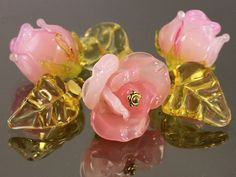 Handmade Lampwork Glass Flower Beads - a set of 6 Beads: 3 Pink Rose with 3 yellow Leaves, Floral Lampwork, Lampwork Flower Beads
