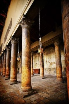Side Aisle of the Basicilla . Church of the Nativity . Israel