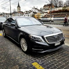 Chauffer driven MB S500L 4matic with white leather interior. Day trip to Zurich City.