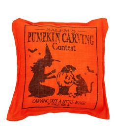Take a look at this Orange 'Carving' Burlap Throw Pillow by Twelve Timbers on…