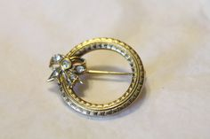 Golden Circle / Wreath With Rhinestone Bow Pin by amyrigs on Etsy