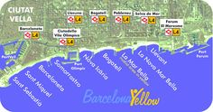 All Barcelona beaches are all on the yellow metro line L4.