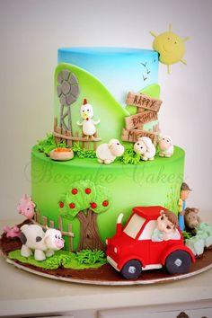 birthday present ideas for friends Fancy Cakes, Cute Cakes, Fondant Cakes, Cupcake Cakes, Farm Animal Cakes, Farm Cake, Spring Cake, Farm Party, Birthday Cake Girls