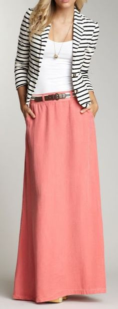 Just a pretty style | Latest fashion trends: Women's fashion | Pink maxi skirt with white cami and striped blazer