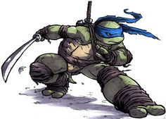 Leonardo posing with a sword drawn