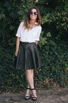 5 Ways To Wear A Leather Skirt | theglitterguide.com @alma mia @Vale Contreras @Montserrat Contreras keeping it by request of Fco!! so pretty!!