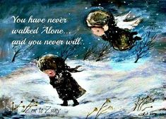 NEVER ALONE... Print, Magnet or Greeting Cards by Nino Chakvetadze ..1 Card or Packs of 6 or 12 Cards ...NO Zen to Zany watermark on produc