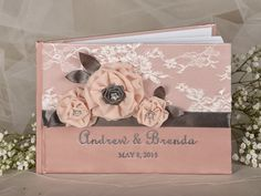 Lace+Vintage+Peach++Guestbook+Custom+Colors++by+4LOVEPolkaDots,+$55.00
