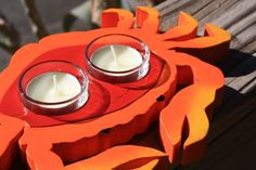 Handmade Rustic Crab Tea Light Holder Beach by millcreekcrafts