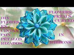 DIY Kanzashi flores pétalos rizados en cintas - flower petals curled ribbons in two colors - YouTube