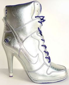 new product 75fbe 49de8 Womens Silver and Purple Nike Heels Dunk SB High