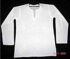 Plus sz 50 White Mens Kurta Cotton Short by KurtiTunicbyBhagya, $34.99