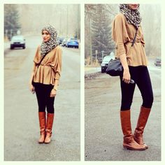 Slouchy carmel top and riding boots. Perfect hijabi outfit for fall!