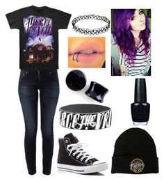 Pierce the Veil Outfit #2 by mrosep on Polyvore featuring polyvore, fashion, style, Nudie Jeans Co., Converse, OPI and clothing