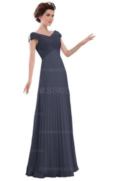 Nightshadow Blue Casual V-neck Zipper Chiffon Pleated Bridesmaid Dresses (Style D79513)