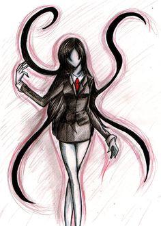 Creepy Drawings, Creepy Art, Art Drawings, Creepypasta Girls, Creepypasta Slenderman, Slender Girl, Jeff The Killer, Arte Horror, Fan Art