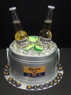 Custom Fondant beer bucket cake with Corona bottles