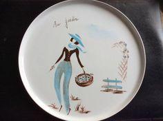 plateau ou grand plat à tarte peint main sur porcelaine avec