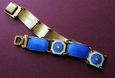 Norway Sterling Silver Enamel Bracelet Vintage by SarahAndJohns