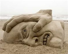sand brushing, sand sculpture