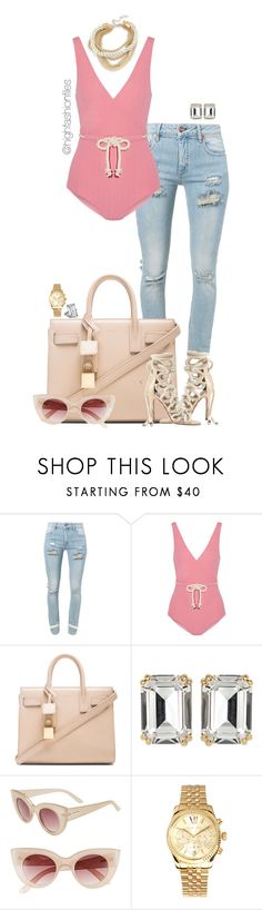 """Untitled #2754"" by highfashionfiles ❤ liked on Polyvore featuring Off-White, Lisa Marie Fernandez, Yves Saint Laurent, Chopard, House of Lavande, MINKPINK and Michael Kors"
