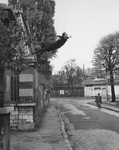 "Leap into the Void, 1960. In October 1960, the American photographer Harry Shunk made a series of pictures re-creating a jump from a second-floor window that the artist claimed to have executed earlier in the year; the figure and the surrounding scene were then collaged together and rephotographed to create its ""documentary"" appearance. To complete the illusion that the event had actually taken place, Klein distributed a fake broadsheet at Parisian newsstands commemorating it."