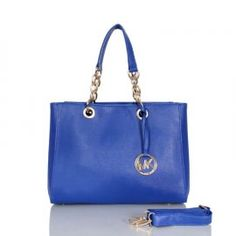"""Michael Kors Cynthia Saffiano Large Blue Satchels Outlet Size:13"""" x 10 1/5"""" x 5 1/2 -Luggage saffiano leather -Golden hardware -Tote handles with chain insets and rings -Removable, adjustable strap -Snap top secures compartmentalized interior -Inside; logo jacquard lining; zip and open pockets"""