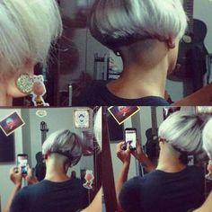 from – … - Modern Shaved Blonde, Shaved Bob, Half Shaved Hair, Shaved Nape, Really Short Hair, Super Short Hair, Short Hair Cuts, Short Hair Styles, Edgy Haircuts