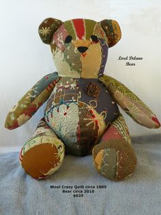 bear from antique crazy quilt