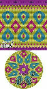This Pin was discovered by Све Tapestry Crochet Patterns, Crochet Mandala Pattern, Crochet Stitches Patterns, Crochet Chart, Diy Crochet, Cross Stitch Designs, Cross Stitch Patterns, Mochila Crochet, Tapestry Bag