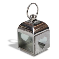 A heart glass latern with a hook, made from strong stainless steel.