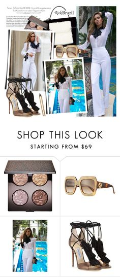 """""""Untitled #1759"""" by noviii ❤ liked on Polyvore featuring Laura Mercier, Gucci, Jimmy Choo, Max Factor, falltrend, Fall2016 and rickibrazil"""